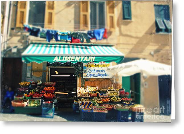 Grocery Store Greeting Cards - Italy CinqueTerre store front Greeting Card by Sylvia Cook
