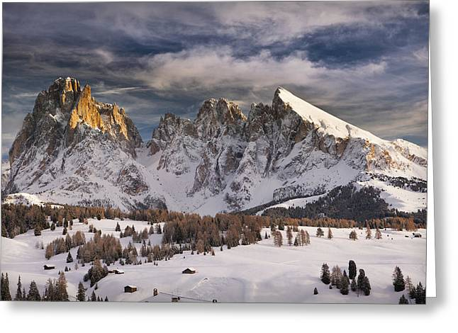 Snowy Day Greeting Cards - Italy, Dolomites Alps,sassolungo Greeting Card by Tips Images