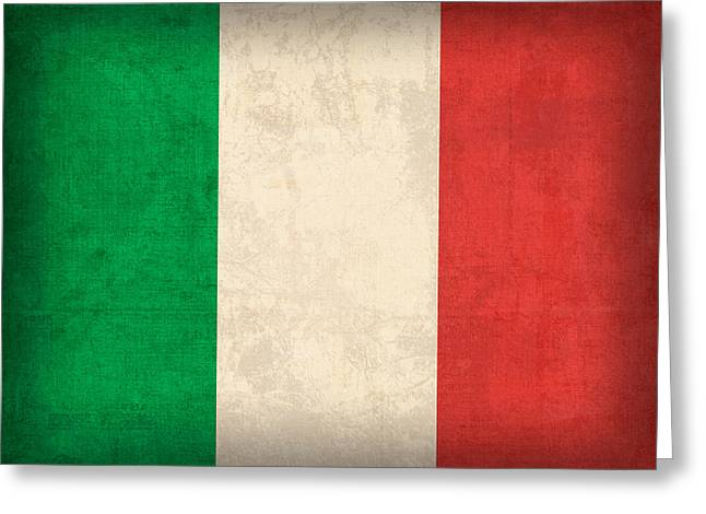 Italy Flag Vintage Distressed Finish Greeting Card by Design Turnpike
