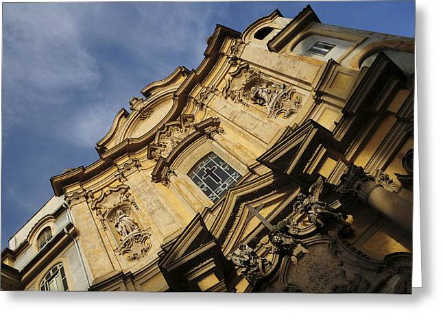 Christianism Greeting Cards - Italy, Lazio, Rome. Facade Of The Greeting Card by Tips Images