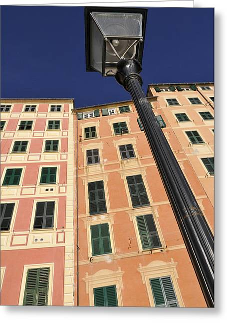 Streetlight Greeting Cards - Italy, Liguria, Camogli, House. © Greeting Card by Tips Images