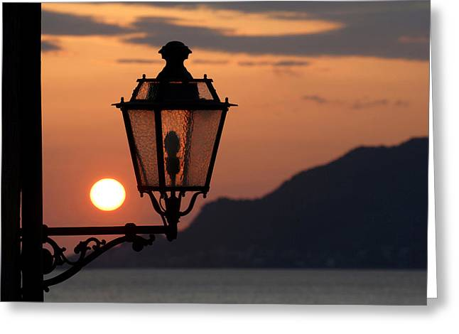 Streetlight Greeting Cards - Italy, Liguria, Cinque Terre Greeting Card by Tips Images