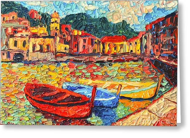 Boats In Harbor Greeting Cards - Italy Liguria Riviera - Cinque Terre - Colorful Boats In Vernazza Greeting Card by Ana Maria Edulescu