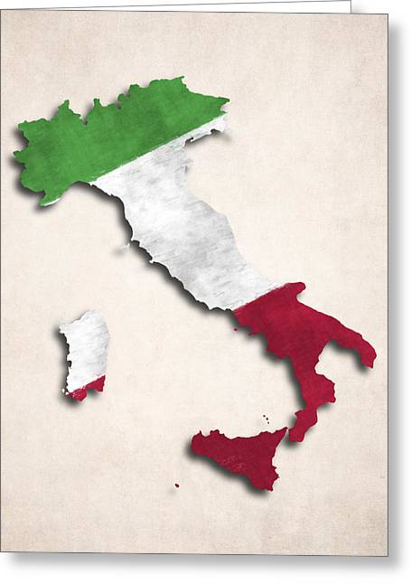 Map Of Italy Greeting Cards - Italy Map Art with Flag Design Greeting Card by World Art Prints And Designs