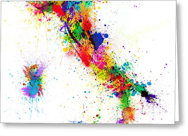 Italy Map Paint Splashes Greeting Card by Michael Tompsett
