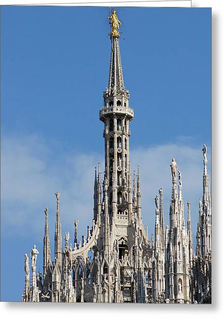 Virgin Mary Photographs Greeting Cards - Italy. Milan Cathedral. Spire By Francesco Croce, With The Madonnina Virgin Mary, Baroque Gilded Greeting Card by Bridgeman Images