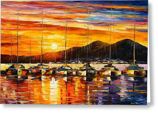 ITALY NAPLES HARBOR Greeting Card by Leonid Afremov