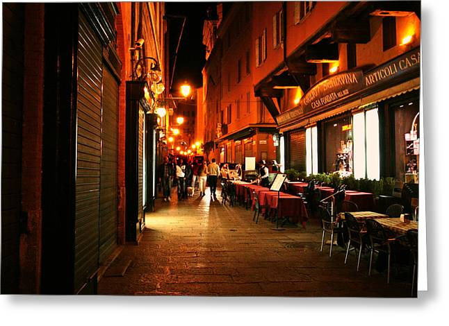 Al Fresco Greeting Cards - Italy Night City Scene Greeting Card by Maggie Vlazny