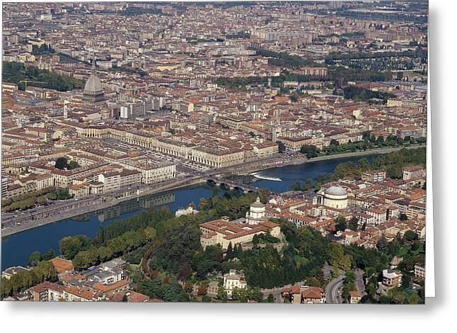 Birdseye Greeting Cards - Italy, Piedmont, Turin, View Of The Greeting Card by Tips Images