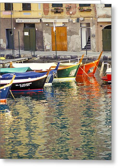 Boats In Harbor Greeting Cards - Italy Portofino Colorful Boats Of Portofino Greeting Card by Anonymous