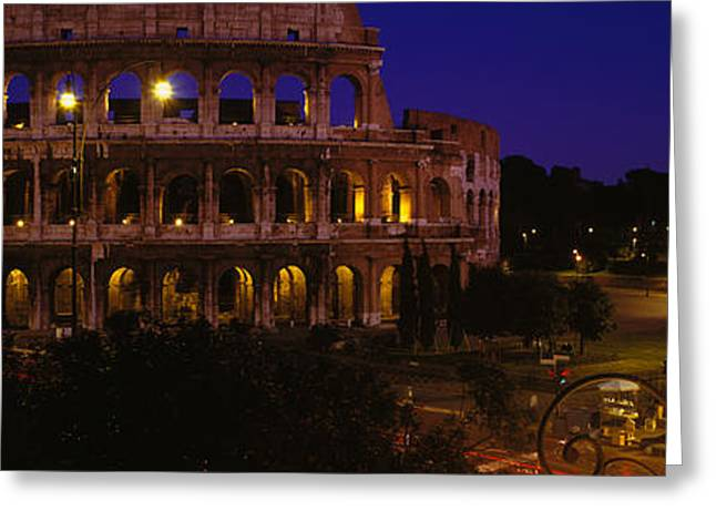 Headlight Greeting Cards - Italy, Rome, Colosseum Greeting Card by Panoramic Images