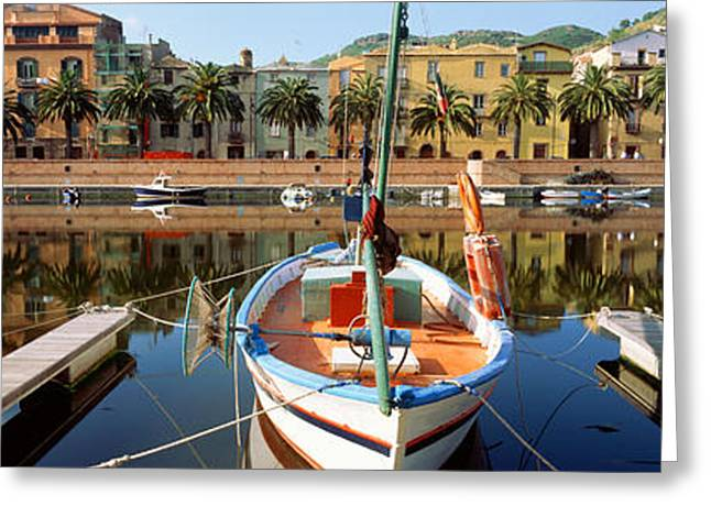 Treelined Greeting Cards - Italy, Sardinia, Bosa, Boats Moored Greeting Card by Panoramic Images