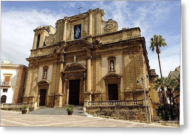 Italy, Sicily, Sciacca, Basilica Di Greeting Card by Tips Images