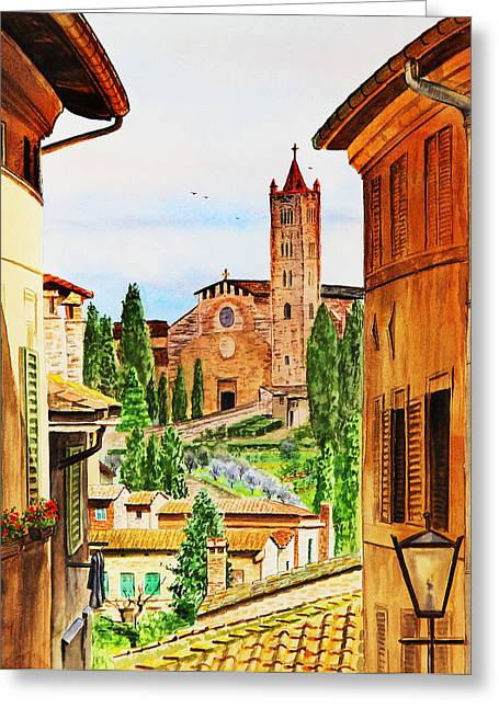 Sell Art Greeting Cards - Italy Siena Greeting Card by Irina Sztukowski