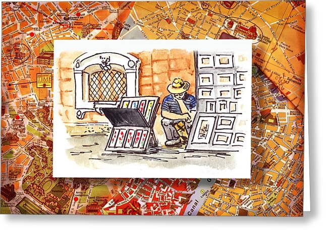 Italy Sketches Florence Art Fair At San Lorenzo Cathedral Greeting Card by Irina Sztukowski