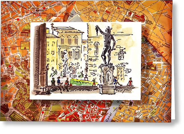 Sketching Greeting Cards - Italy Sketches Florence Palazzo Vecchio Piazza  Greeting Card by Irina Sztukowski