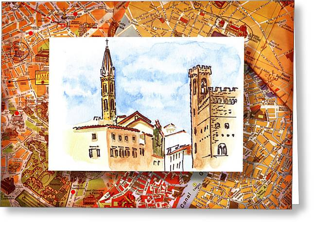 Travel Sketch Italy Greeting Cards - Italy Sketches Florence Towers Greeting Card by Irina Sztukowski