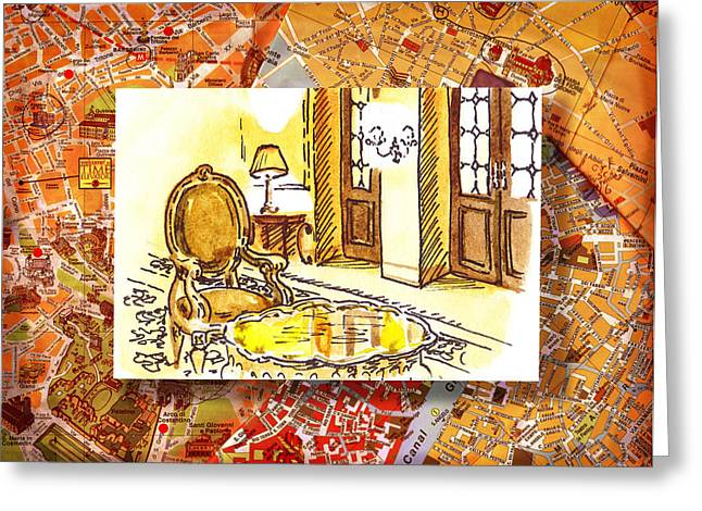 Aged Art Greeting Cards - Italy Sketches Hotel Europa Regina Greeting Card by Irina Sztukowski