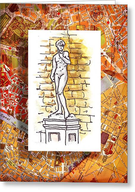 Travel Sketch Italy Greeting Cards - Italy Sketches Michelangelo David Greeting Card by Irina Sztukowski