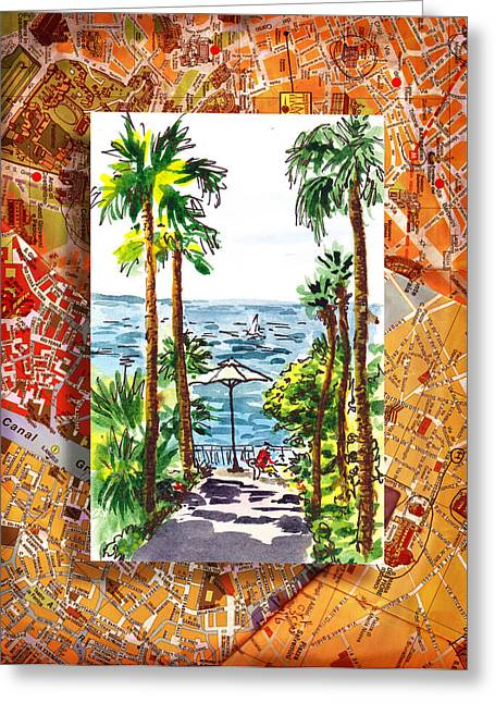 Sea View Greeting Cards - Italy Sketches Palm Trees Of Sorrento Greeting Card by Irina Sztukowski