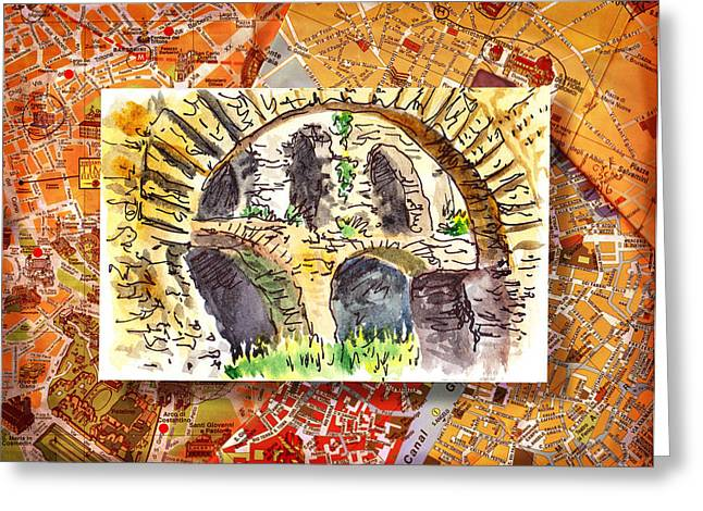 Fora Greeting Cards - Italy Sketches Roman Ruins of Forum Greeting Card by Irina Sztukowski