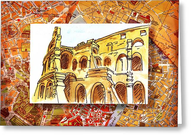 Cathedral Rock Greeting Cards - Italy Sketches Rome Colosseum Ruins Greeting Card by Irina Sztukowski