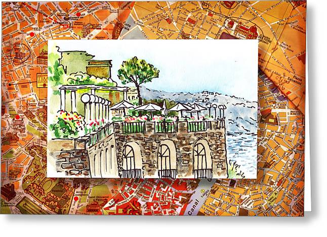 Travel Sketch Italy Greeting Cards - Italy Sketches Sorrento Cliff Greeting Card by Irina Sztukowski