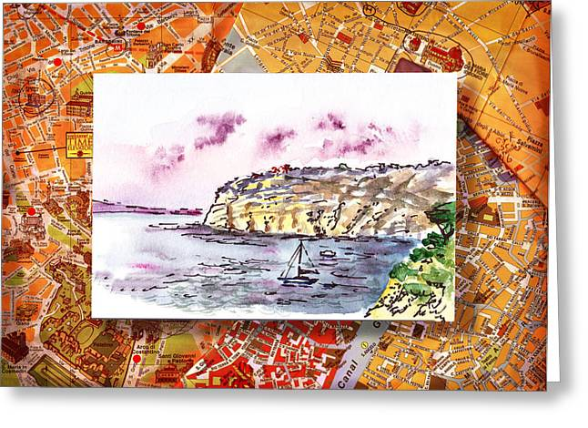 Italian Mediterranean Art Greeting Cards - Italy Sketches Sorrento Rocky Shore Greeting Card by Irina Sztukowski