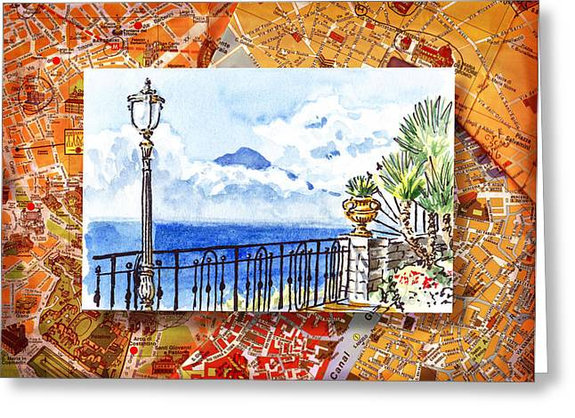 Street Lights Greeting Cards - Italy Sketches Sorrento View On Volcano Vesuvius  Greeting Card by Irina Sztukowski