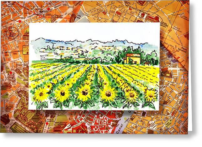 Italy Sketches Sunflowers Of Tuscany Greeting Card by Irina Sztukowski