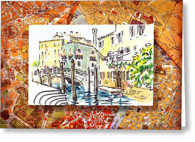 Aged Art Greeting Cards - Italy Sketches Venice Canale Greeting Card by Irina Sztukowski