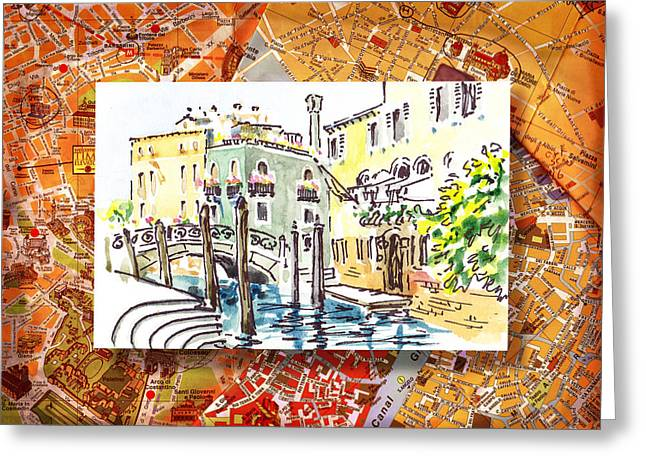 Italy Sketches Venice Canale Greeting Card by Irina Sztukowski