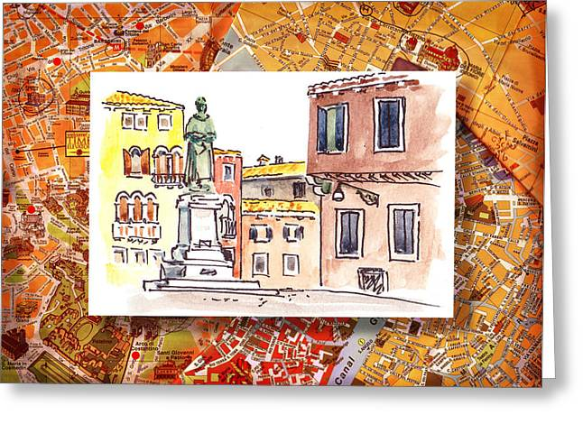 Aged Art Greeting Cards - Italy Sketches Venice Piazza Greeting Card by Irina Sztukowski