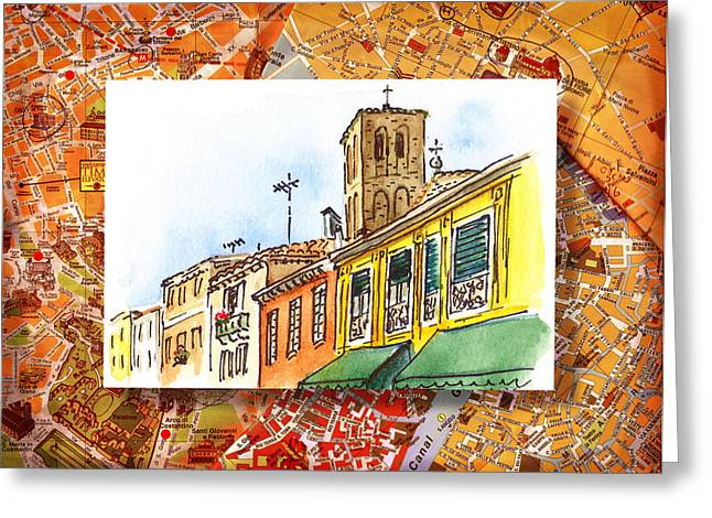 Aged Art Greeting Cards - Italy Sketches Venice Via Nuova Greeting Card by Irina Sztukowski