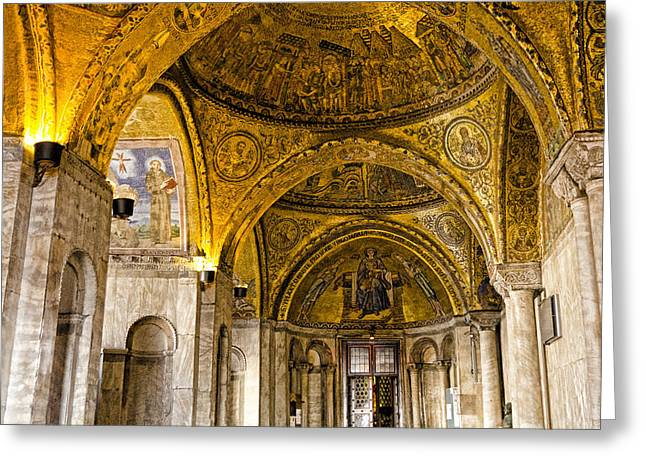 The Piazza Greeting Cards - Italy - St Marks Basiclica Venice Greeting Card by Jon Berghoff
