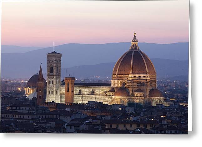 Tuscan Sunset Greeting Cards - Italy, Tuscany, Florence, Skyline At Greeting Card by Tips Images