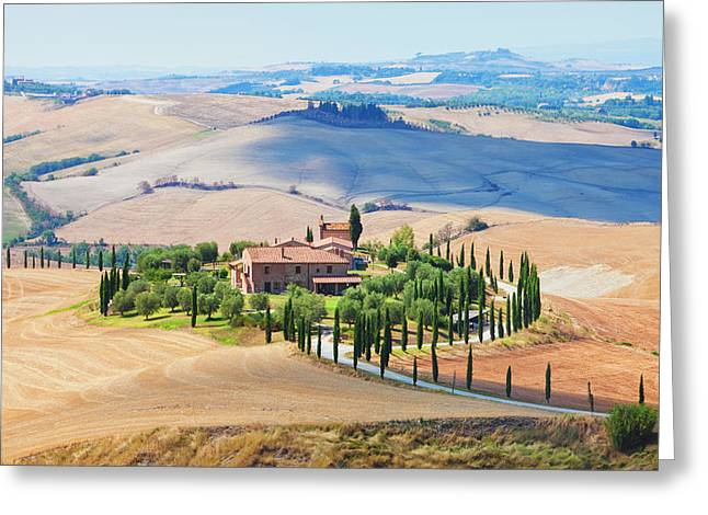 Italy Tuscany Le Crete - Farmhouse Greeting Card by Panoramic Images