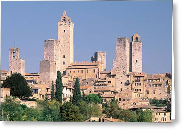 Civilization Greeting Cards - Italy, Tuscany, Towers Of San Greeting Card by Panoramic Images