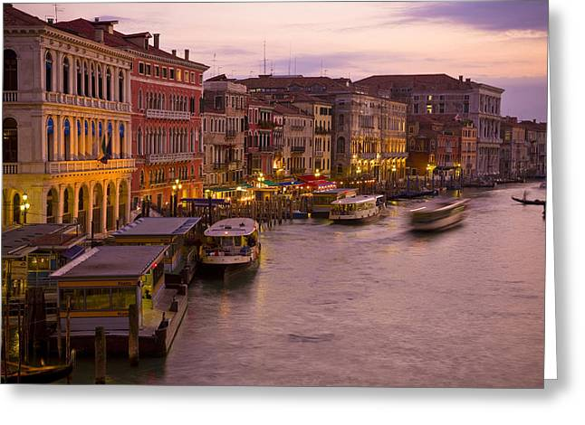 Italian Sunset Greeting Cards - Italy, Veneto, Venice, Canal Grande At Greeting Card by Tips Images