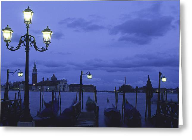 Dome Light Greeting Cards - Italy, Veneto, Venice, Gondolas And Greeting Card by Tips Images