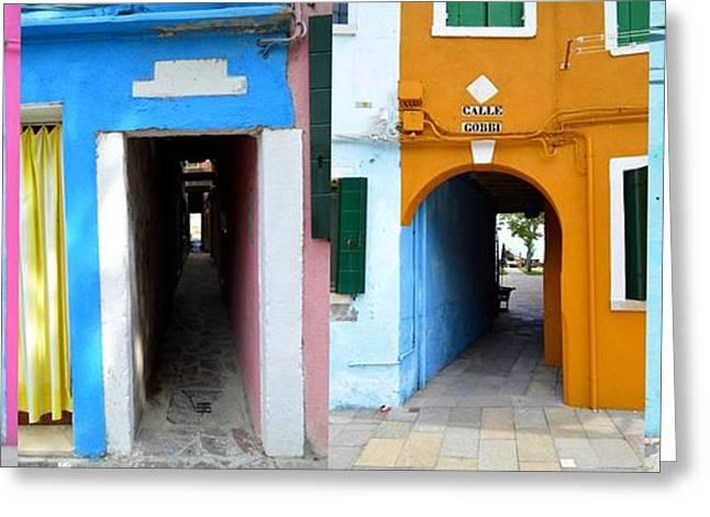 Entrance Door Greeting Cards - Italy - Venezia - Burano Secret Entrances  Greeting Card by Ana Maria Edulescu