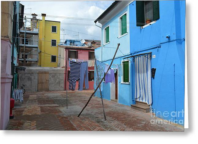 White Cloth Greeting Cards - Italy - Venezia - Laundry Day In Colorful Burano Greeting Card by Ana Maria Edulescu