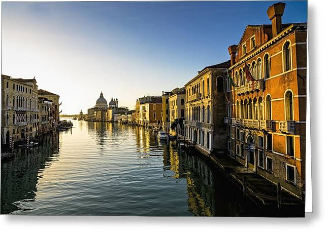 Awesomeness Greeting Cards - Italy, Venice, Buildings Along Canal Greeting Card by Richard Desmarais