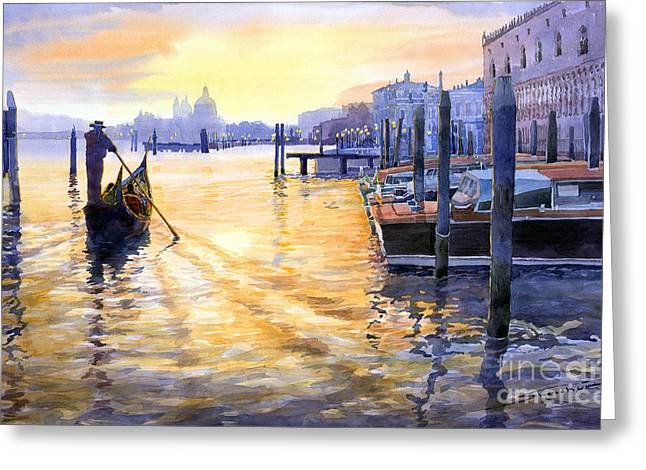 Historic Landmarks Greeting Cards - Italy Venice Dawning Greeting Card by Yuriy Shevchuk