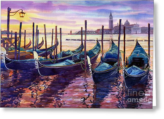 Boats. Water Greeting Cards - Italy Venice Early Mornings Greeting Card by Yuriy Shevchuk