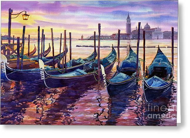 Italy Venice Early Mornings Greeting Card by Yuriy Shevchuk