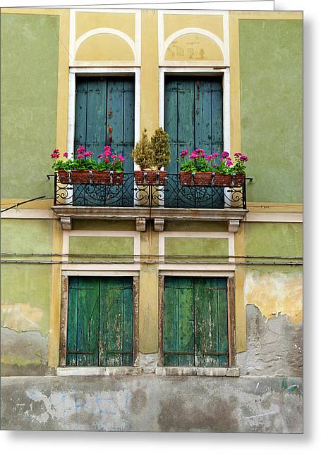 Italy, Venice Exterior Detail Greeting Card by David Noyes