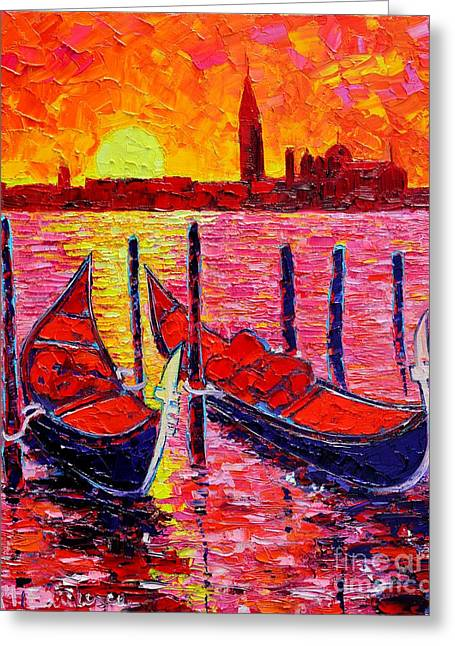 Great Mysteries Paintings Greeting Cards - Italy - Venice Gondolas - Abstract Fiery Sunrise  Greeting Card by Ana Maria Edulescu