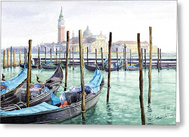 City Scenes Paintings Greeting Cards - Italy Venice Gondolas Parked Greeting Card by Yuriy Shevchuk