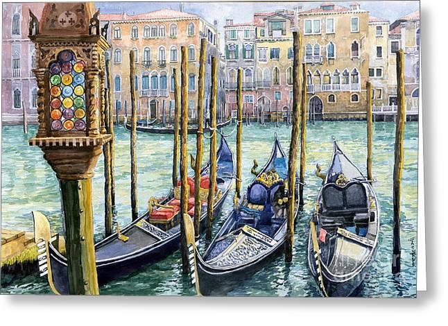 Italy Venice Lamp Greeting Card by Yuriy Shevchuk